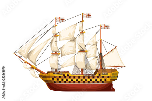 In de dag Schip old ship isolated