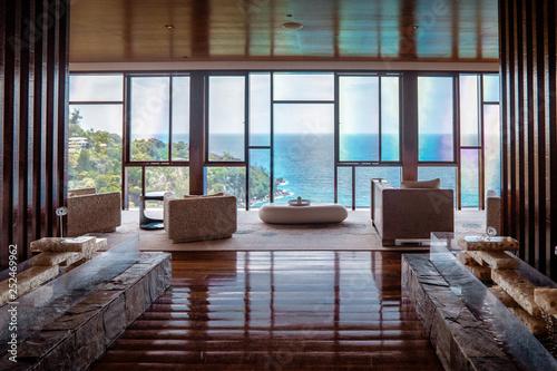 Fotografie, Obraz  luxury beach chairs looking out over ocean of Praslin Seychelles