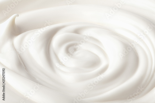 Obraz na plátně  sour cream in glass, mayonnaise, yogurt, isolated on white background, clipping