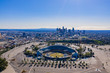 Aerial view of the Los Angeles downtown area with Dodger Stadium