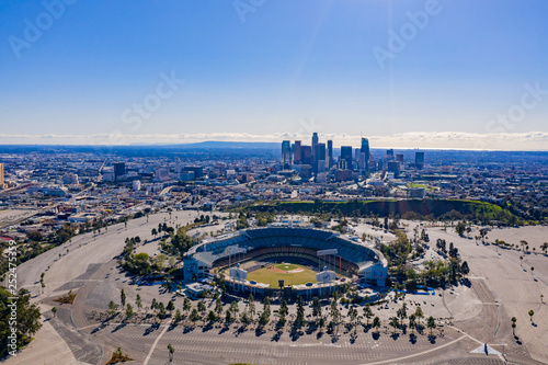 Fotografie, Obraz  Aerial view of the Los Angeles downtown area with Dodger Stadium