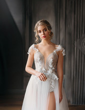 Charming Pretty Lady With A Light Fluffy White Dress, Magnificent Detailed Goon Tailoring, Excellent Work Of A Photographer And Make-up Artist, A Swan Princess Costume With A Bare Leg In The Cut