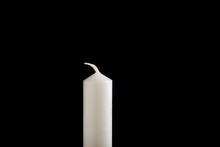 White Unlit Candle Isolated On White Background