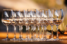 Glasses With Champagne Or Wine At The Event. Catering Concept