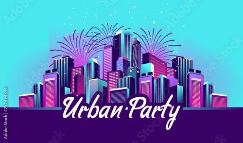 Foto auf Gartenposter Turkis Night city party