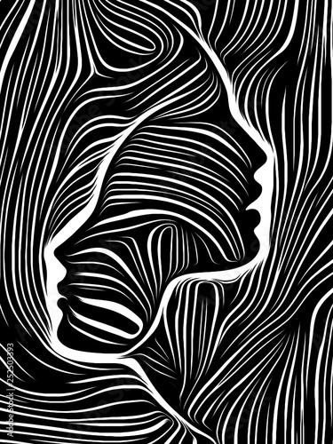 Fotografie, Obraz  Woodcut Face.