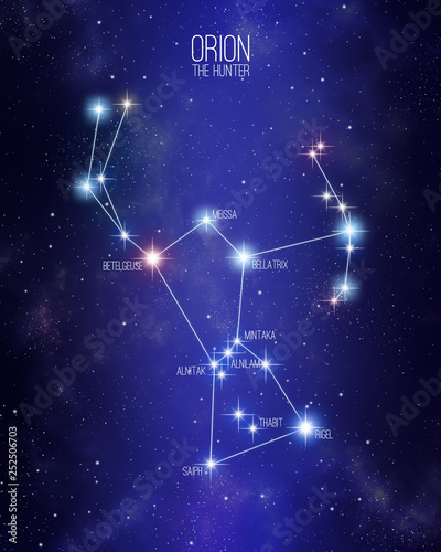 Fotomural Orion the hunter constellation on a starry space background with the name of its main stars
