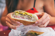 Cuban Sandwich Closeup Woman H...