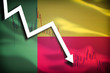 White arrow and stocks chart fall down on the background of the waving flag of Benin