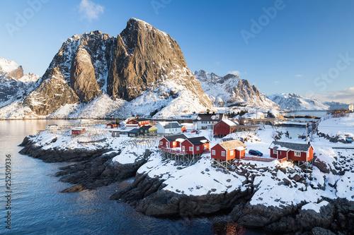 Deurstickers Noord Europa Fishing village Hamnoy on Lofoten islands (Norway) during a sunny winter day