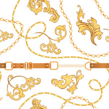 Fashion Fabric Seamless Pattern With Golden Chains, Belts And Straps. Luxury Baroque Background Fashion Design With Jewelry Elements For Textile, Wallpaper, Scarf. Vector Illustration