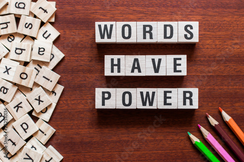 Fotografía  Words Have Power word cube on wood background ,English language learning concept
