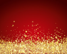 Red Background With Gold Stars Glitter For Holidays And Celebrations