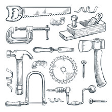 Woodwork And Carpentry Tools Set. Vector Sketch Illustration. Wood Material And Furniture Industry Design Elements.
