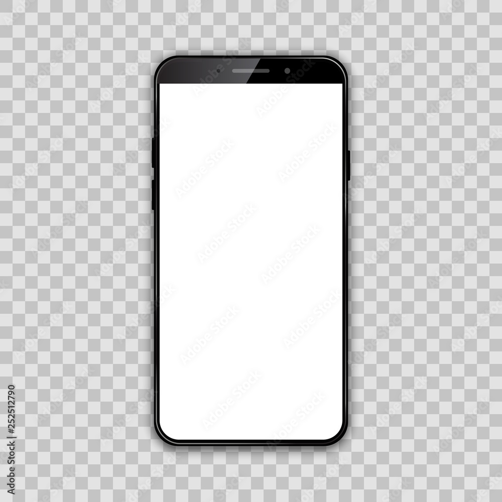 Fototapeta Black smartphone with white empty touch screen - vector