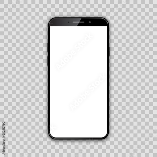 Photo  Black smartphone with white empty touch screen - vector