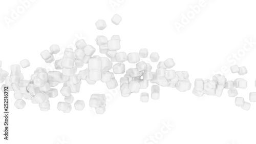 Foto op Canvas Kruiderij Сhalk coal low poly metacubes white clear background. 3d rendering creative concept