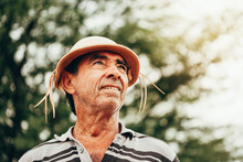 Portrait Of Brazilian Northeastern Cowboy Wearing His Typical Leather Hat.