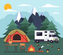 Tourists People Living In Tent. Camping Tourism Traveling Hiking Climbing Concept. Vector Flat Cartoon Graphic Design Illustration Concept