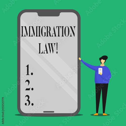 Photo Text sign showing Immigration Law