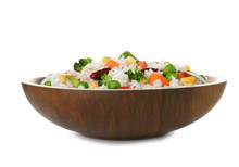 Bowl With Tasty Rice And Veget...