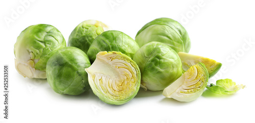 Stickers pour portes Bruxelles Fresh tasty Brussels sprouts on white background