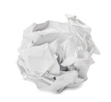 Crumpled Sheet Of Paper On Whi...