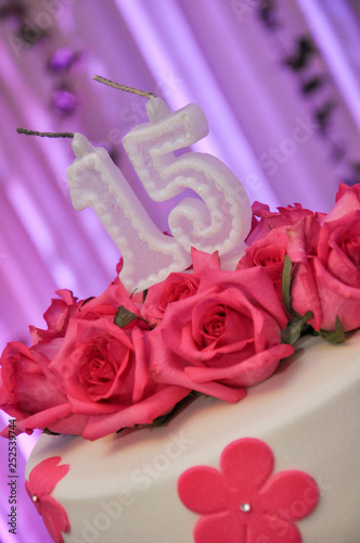 Fototapeta flowers in decoration at debutante party.