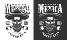 Bearded And Mustached Mexican Skull Emblem