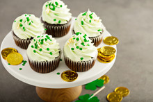 Saint Patrick Day Chocolate Mint Cupcakes With Green Frosting And Golden Leaf