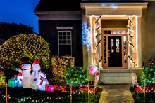CELEBRATION, FLORIDA, USA - DECEMBER, 2018: Christmas Decorated House At Celebration City.