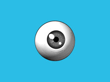 Engraving Eyeball Illustration On Blue BG