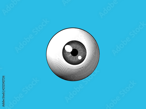 Photo Engraving eyeball illustration on blue BG