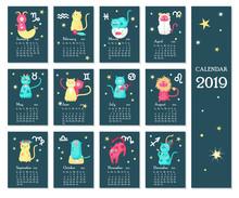 2019 Zodiac Calendar Vector Te...