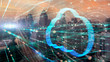 canvas print picture Double exposure the cityscape and clouds technology,Futuristic computer digital Abstract background