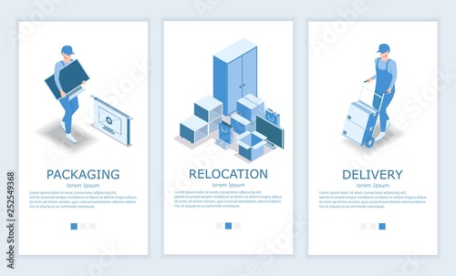 Photo Vector relocation website and mobile app template set