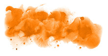 Abstract Watercolor Background Hand-drawn On Paper. Volumetric Smoke Elements. Orange Color. For Design, Web, Card, Text, Decoration, Surfaces.