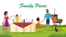 Happy Family Picnic On Green Loan Cartoon Vector