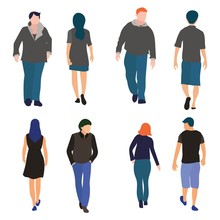 Set Of Men And Women Walking Front And Back View Flat Design