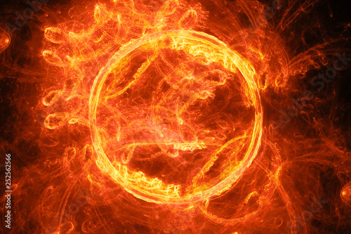 Wall Murals Flame Fiery glowing ring flame in space