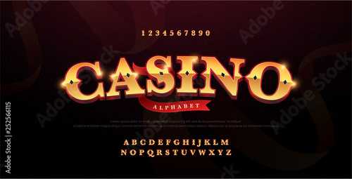 Photo Casino luxury 3d alphabet gold logotype with royal font