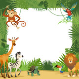 Fototapeta Fototapety na ścianę do pokoju dziecięcego - Jungle animals card. Frame animal tropical leaves greeting baby banner zoo border template party children