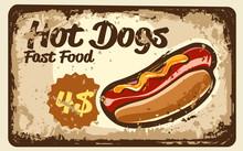 Hot Dog With Mustard Vintage Label