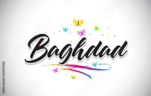 Vászonkép Baghdad Handwritten Vector Word Text with Butterflies and Colorful Swoosh