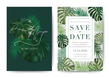 Set Of Wedding Card Template Background. For Invitation, Menu, Decoration With Leaf. Summer Tropical Pink And Rose Wine Watercolour Style. Vector Illustration.
