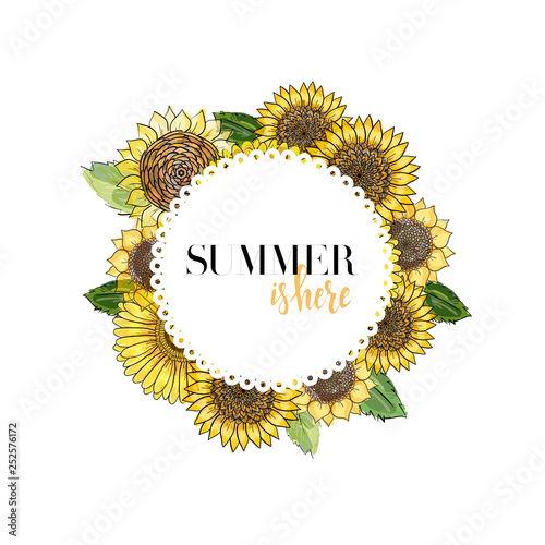 round white frame with lettering decorated with flowers gerbera and sunflowers, sketch vector graphic color illustration on white background. Summer is here hand drawn quote. Fototapete