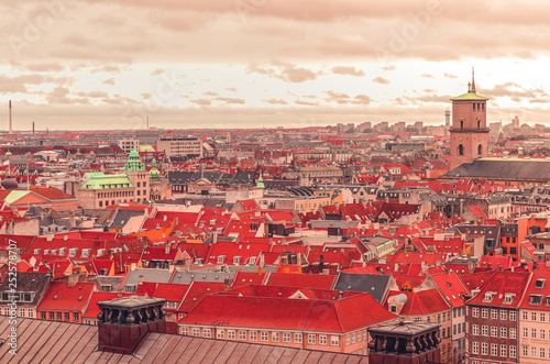 Panoramic view over the rooftops of Copenhagen, Denmark Canvas Print