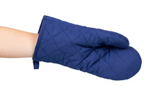 Hand With Blue Kitchen Glove, Heat Protection And Safety.