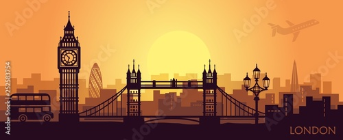 Recess Fitting Deep brown Stylized landscape of London with big Ben, tower bridge and other attractions