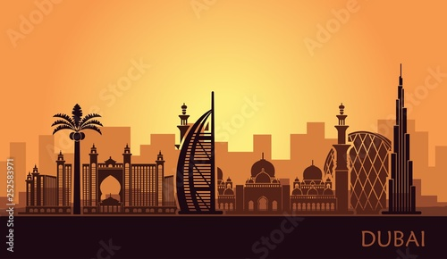 Abstract city skyline with sights of Dubai